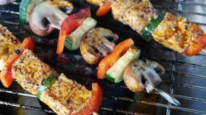 grilled shishkabob with tomato mushrooms and tofu